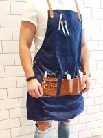 Barber Pro Barbers Apron Denim Blue