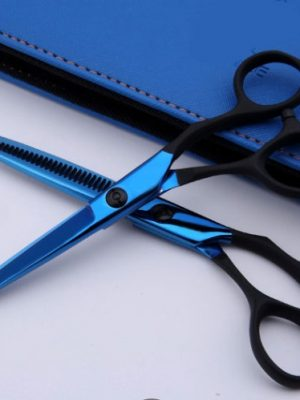 Blue Titanium Student Hairdressing and Barber Scissor Set